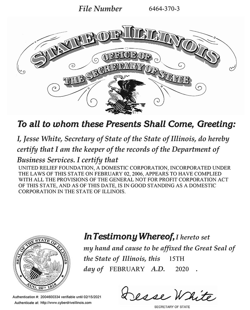 State of Illinois Good Standing Certificate